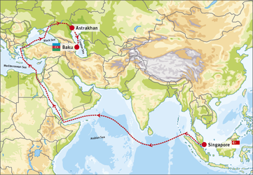 The route from Singapore to Baku